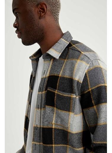 DeFacto Regular Fit Uzun Kollu Gömlek Antrasit